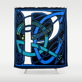 Celtic Peacock Letter P Shower Curtain