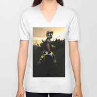 moto V-neck T-shirts featuring Moto Sunset by Konrad Hempel Photography