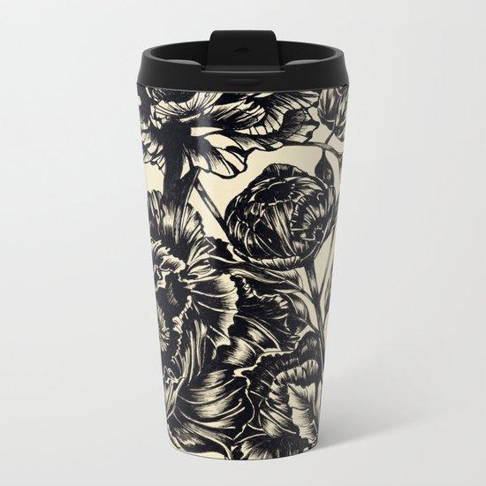 Peonies, black & white Metal Travel Mug
