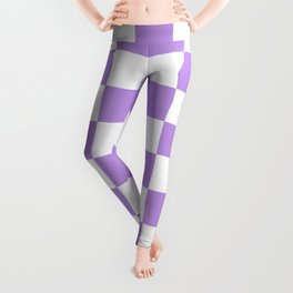 Checkered - White and Light Violet Leggings