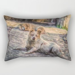 Two dogs resting Rectangular Pillow