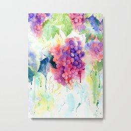 Watercolor Painting Grape Vine Metal Print