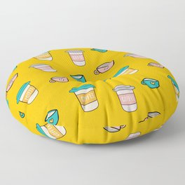 Happy coffee cups and mugs in yellow background Floor Pillow