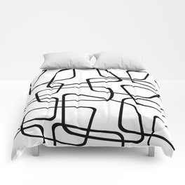 Mid Century Black And White Pattern Comforters