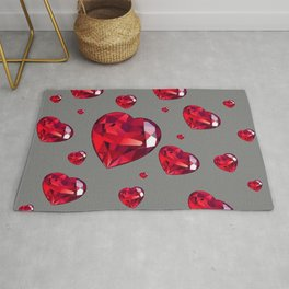 GREY ART RAINING RUBY RED VALENTINES HEARTS Rug