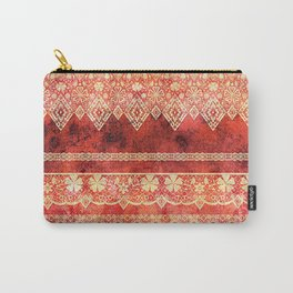 Retro . Vintage lace on a red background . Carry-All Pouch