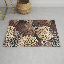 Copper Dahlia Floral Pattern Rug