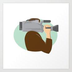cameraman movie video camera side retro Art Print