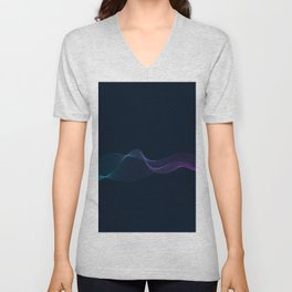 Abstract network design with particle blue light Unisex V-Neck