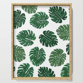 Tropical Hand Painted Swiss Cheese Plant Leaves Serving Tray