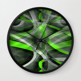 Eighties Vibes Lime and Grey Layered Curve Pattern Wall Clock