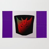 transformer Area & Throw Rugs featuring Transformers Generation 1: Rub Sign: Decepticon! by InvaderDig