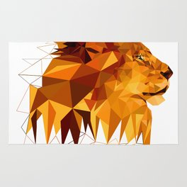 Geometric Lion Wild animals Big cat Low poly art Brown and Yellow Rug