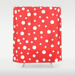 White Dots on Red Shower Curtain