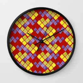 Blue yellow gold mosaic pattern on metallic red Wall Clock