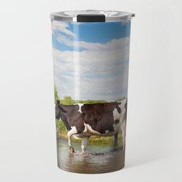 Herd of cows walking across pool Travel Mug