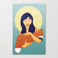 kitsune Canvas Prints featuring Kitsune by Sweet Demise Designs