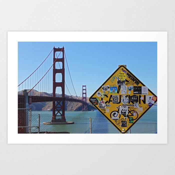 San Francisco- Golden Gate Stickers Art Print