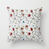 spice Throw Pillows featuring Floral Spice by Itaya Art