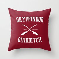 quidditch Throw Pillows featuring Hogwarts Quidditch Team: Gryffindor by IA Apparel