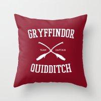 gryffindor Throw Pillows featuring Hogwarts Quidditch Team: Gryffindor by IA Apparel
