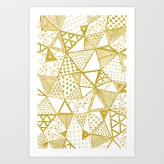 Golden Doodle triangles Art Print