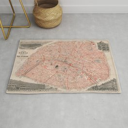 Old vintage flat map of paris Rug