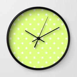 Light Lime Green Background With White Stars Pattern Wall Clock