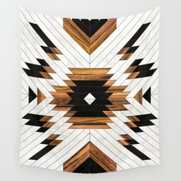 Urban Tribal Pattern 5 - Aztec - Concrete and Wood Wall Tapestry