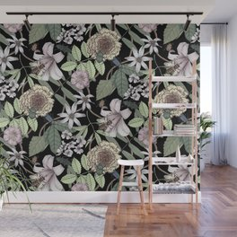 lush floral pattern with bee and beetles II Wall Mural