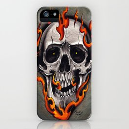 Skull in Flames iPhone Case