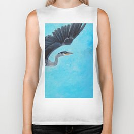 In Flight Blue Heron Painting Biker Tank