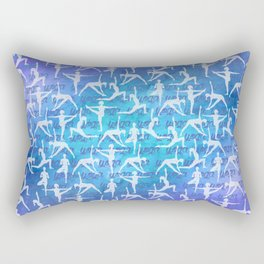 Yoga Asanas pattern on watercolor purple and blue Rectangular Pillow