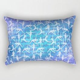 Yoga Asanas pattern on watercolor purple and blue Rectangular Pillow