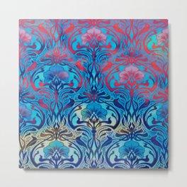 Art Nouveau,blue ombre, beautiful pattern, belle epoque,victorian,elegant,chic,modern,trendy,vibrant Metal Print