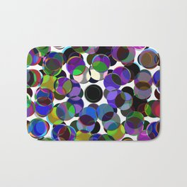 Cluttered Circles III - Abstract, Geometric, Pastel Coloured, Circle Patterned Artwork Bath Mat