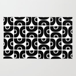 Groovy Mid Century Modern Pattern Black and White Rug
