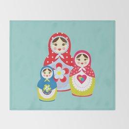 Turquoise babushka , matryoshka , russian doll , nursery decor , children gift, birthday gift Throw Blanket