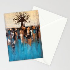 Abstract Tree - Teal and Brown Landscape Painting Stationery Cards