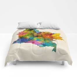 Colombia Watercolor Map Comforters
