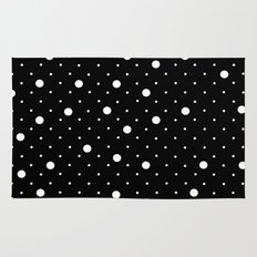 Pin Point Polka Dots White on Black Rug