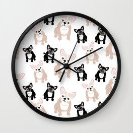 Cute French Bulldog Pattern Wall Clock