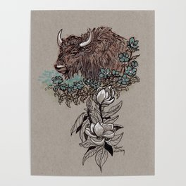 Buffalo Wildflower and Magnolias Poster