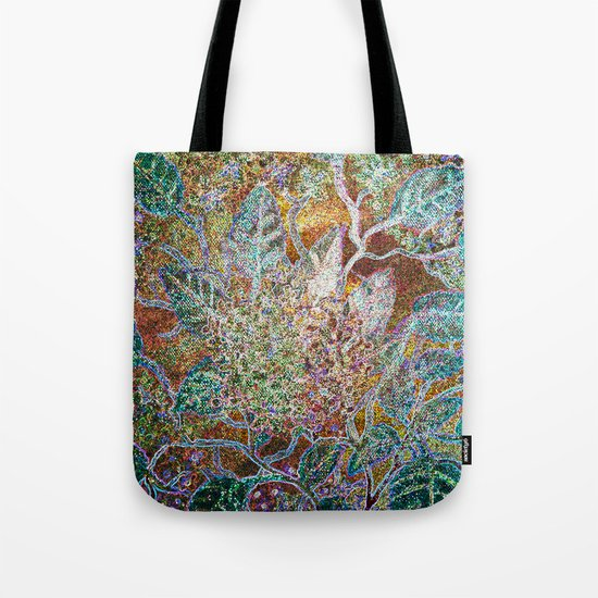 Green Gold Floral Tote Bag