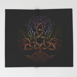 Colorful Tree of life with Triquetra Throw Blanket