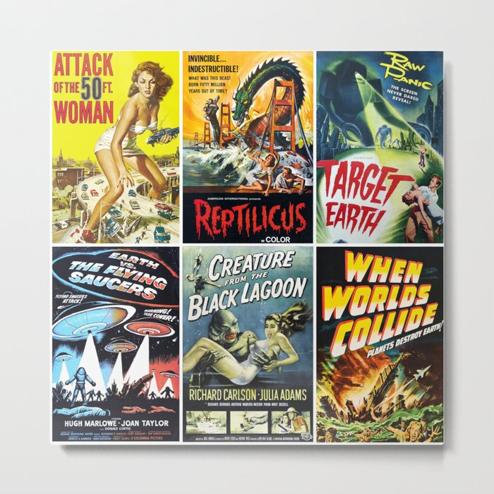 50s Sci Fi Movie Poster Collage 1 Metal Print By Rockettgraphics