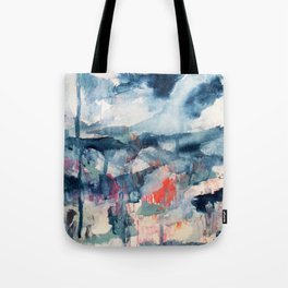 Before the Storm - an abstract acrylic and ink piece in blues, white, pink, and red Tote Bag