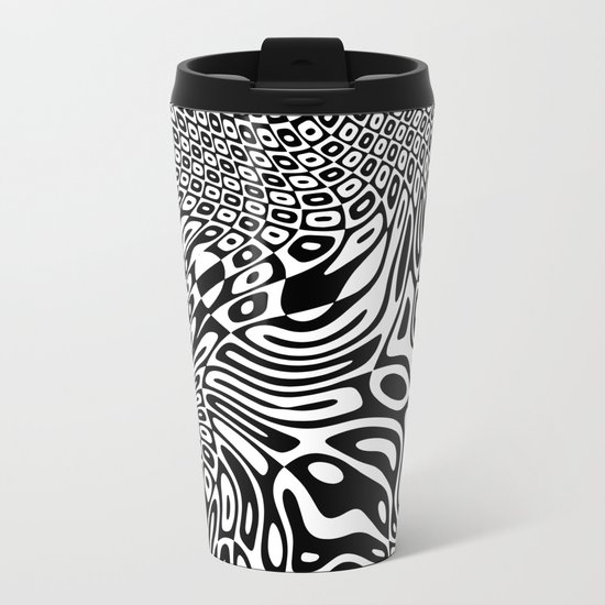 Black and white psychedelic optical illusion Metal Travel Mug