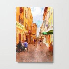 Medieval street in Provence Metal Print