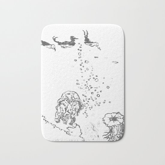 Two Tailed Duck and Jellyfish White Bath Mat